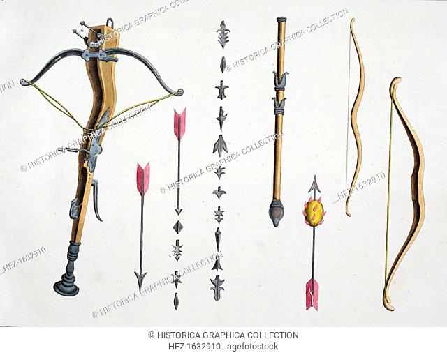 Bows and arrows from the 14th-15th century, 1842. Plate from A History of the Development and Customs of Chivalry by Dr Franz Kottenkamp, 1842