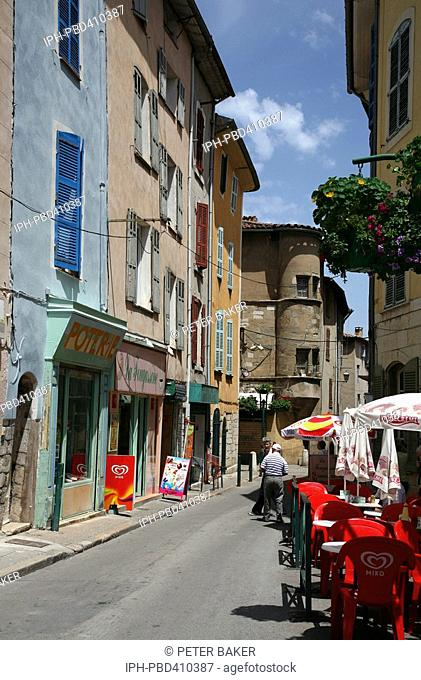 St Maximin-la-Sainte-Baume - A typical street scene in this small town in Provence