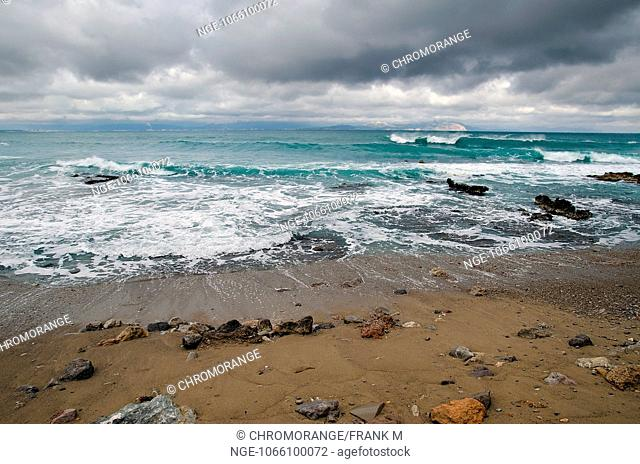 Beach in bad weather