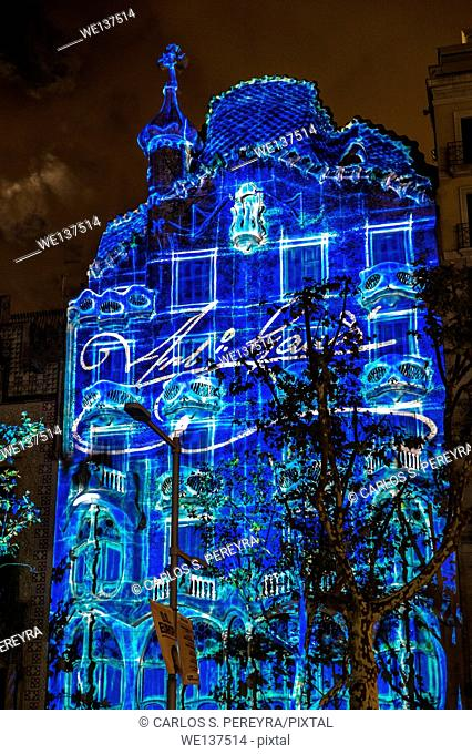 Mapping in the last Festes de la Merce holiday in Casa Batllo (by Antoni Gaudi) in Passeig de Gracia Avenue, Barcelona, Catalonia, Spain