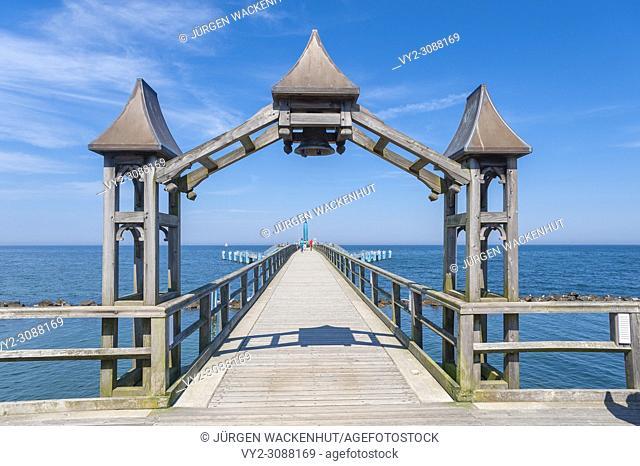 Detail of the pier, Sellin, Rügen, Mecklenburg-Vorpommern, Deutschland, Europe