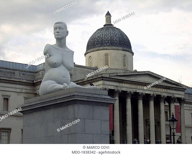Alison Lapper Pregnant, by Marc Quinn, 2005, 21st Century, marble, 355 x 180,5 x 260. Whole artwork view. Portrait of the disabled pregnant artist exposed in...