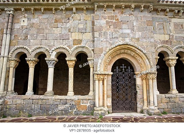 Entrance to the portico of the church of San Julián and Santa Basilisa. Romanesque portico. Rebolledo de la Torre. Las Loras World Geopark
