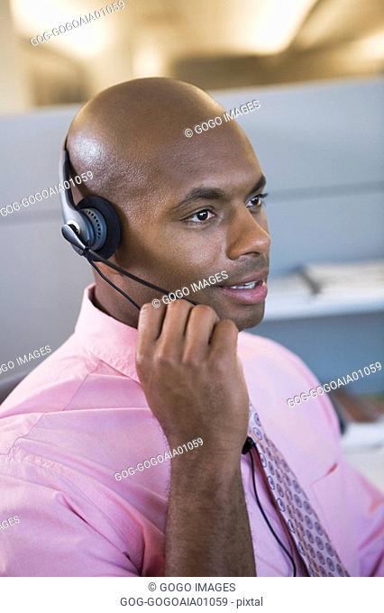 African businessman wearing headset