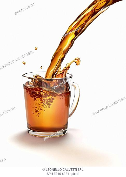 Tea being poured into a glass, computer artwork