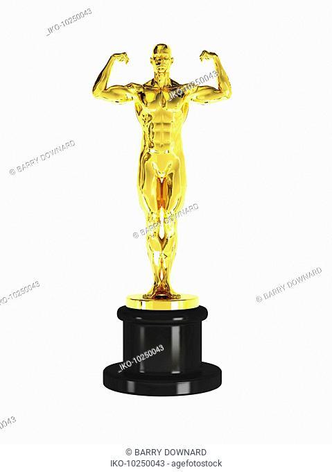 Golden trophy of man flexing muscles