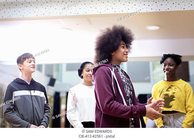 Teenagers in dance class studio