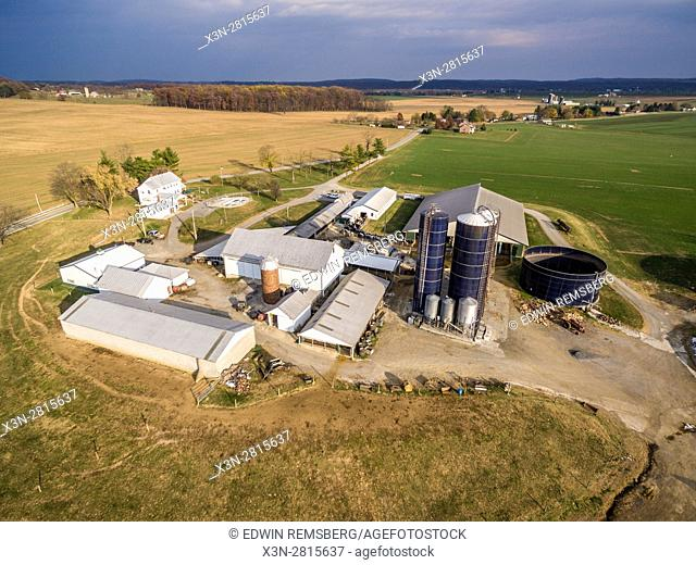 Aerial view of diary farm in Frederick Maryland