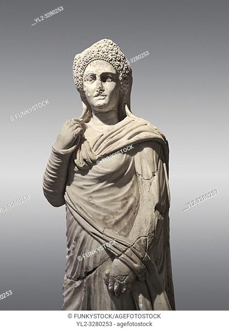 Roman statue of Demiougous, 2nd century AD from Hierapolis. Hierapolis Archaeology Museum, Turkey. Against a grey background
