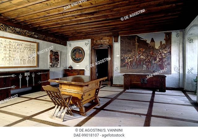 Room with chests, Spiez Castle, Canton of Bern, Switzerland