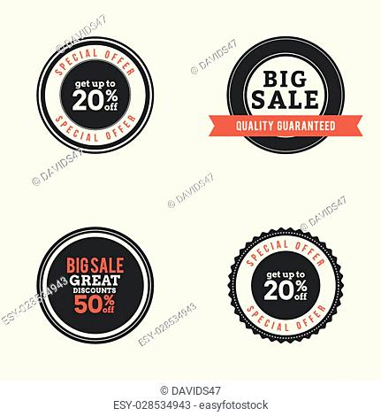 Set of sales labels with text on a white background