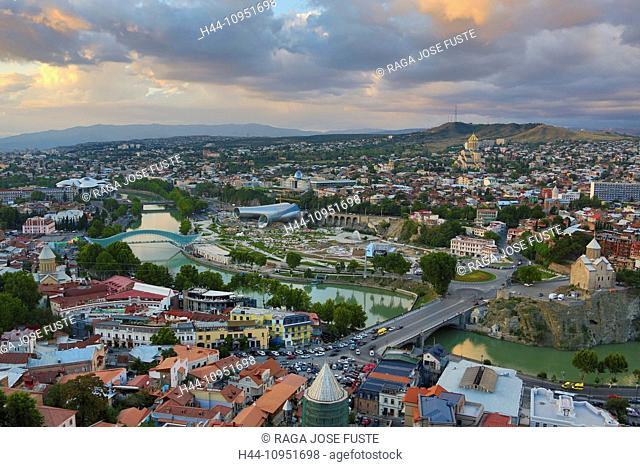 Justice, Kura, Metekhi, Sameba, Tbilisi, architecture, cathedral, church, city, downtown, Georgia, Caucasus, Eurasia, panorama, river, sunset, touristic, travel