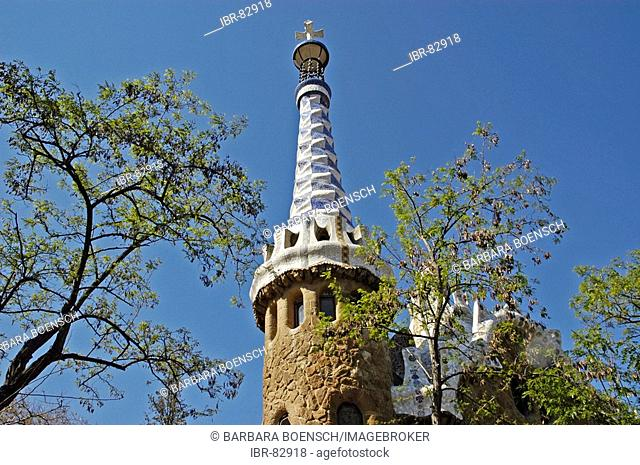 Steepletop, roof with moasaik, park Gueell, Architect Antoni Gaudi, Barcelona, Catalonia, Spain