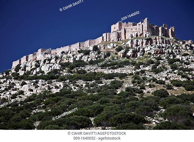 Spain, Andalucia, Castilla La Mancha, Belvis, General view from below of Belvis Castle and ramparts