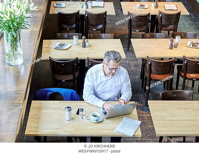 Mature businessman in cafe using laptop