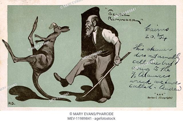 A Gentle Reminder -- cartoon of a man giving a kangaroo the boot, postmarked Cook Town, Queensland, Australia