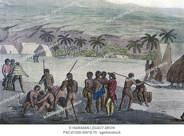c.1778 Hawaii, Kauai, John Webber, Inland view of Atooi (Heiau) village of Waimea with native people