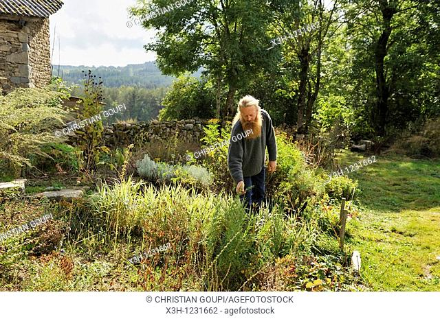 Philippe Demoisson, farmer and gatherer of aromatic and medicinal herbs in the village of Saint-Bonnet-le-Bourg, Livradois-Forez Regional Nature Park