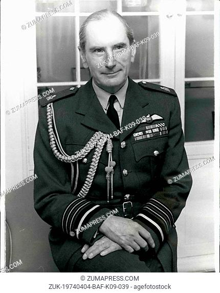 Apr. 04, 1974 - NEW CHIEF OF THE AIR STAFF Air Chief Marshal SIR ANDREW HUMPHREY, 52, pictured in his office at the Ministry of Defence yesterday after his...