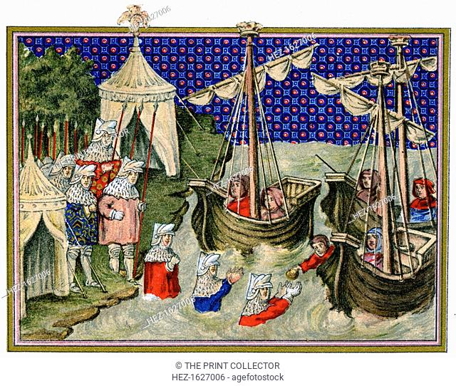Ships bringing provisions to the English host, Richard II's campaign in Ireland, 1399, (1893). An illustration from A Short History of the English People