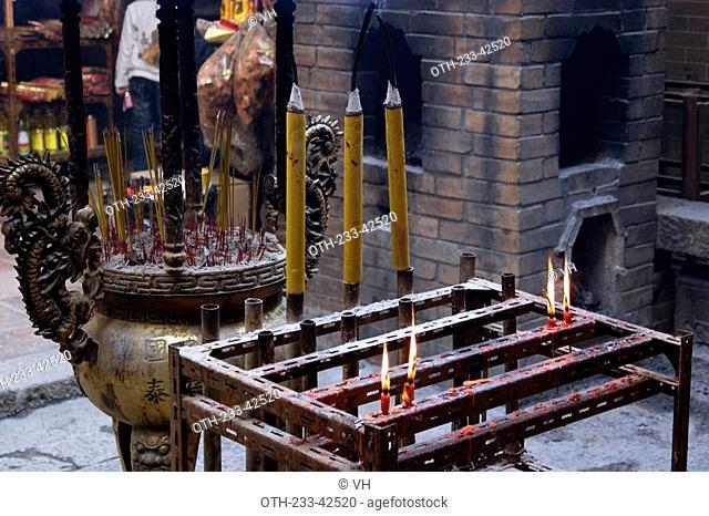 Incense offerings at the historical Man Mo Temple at Taiwo, Taipo, Hong Kong
