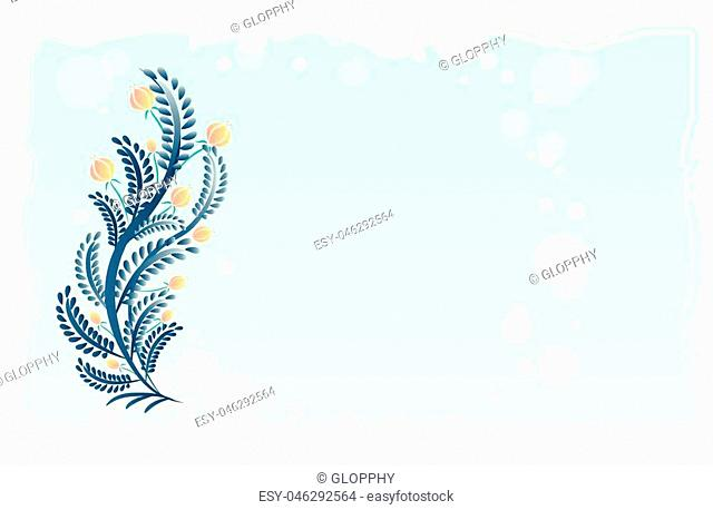 Floral retro style greetings card logo image vector template