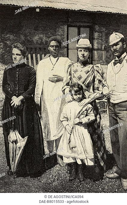 Ligg Abarrah with Italian people, Asmara, Eritrea, engraving from a photograph by Scotti, from L'Illustrazione Italiana, year 19, no 14, April 3, 1892