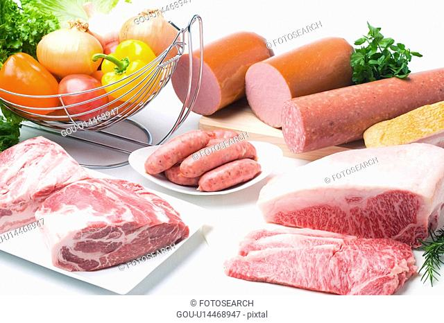 Variety of meats and vegetables