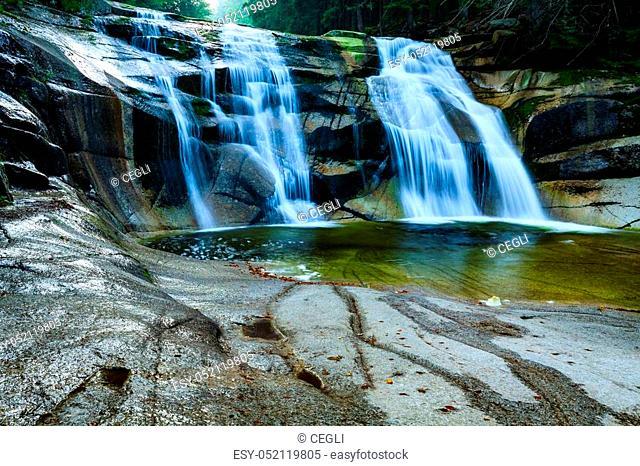 Mumlava waterfall in the Karkonosze National Park, Harrachov