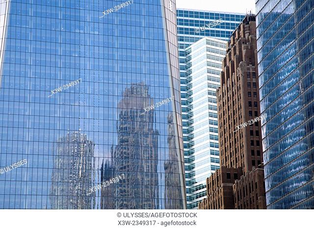 skyscrapers, Broadway and Liberty street, financial district, Manhattan, New York, USA, America