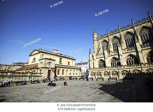 Kingston parade square bath abbey and the roman baths building in the historic city centre of Bath England UK
