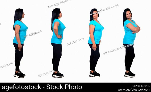 the same woman of profile with varius poses on white background,