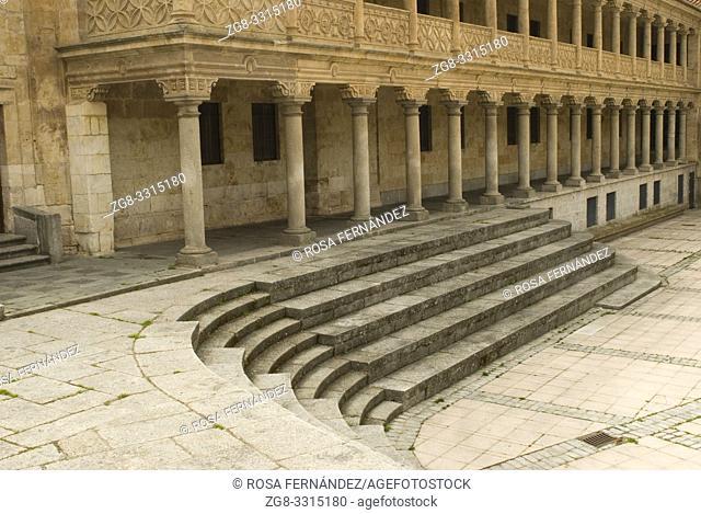 Arcaded square of San Roman with stony stair, city of Salamanca, Castilla y Leon, Spain