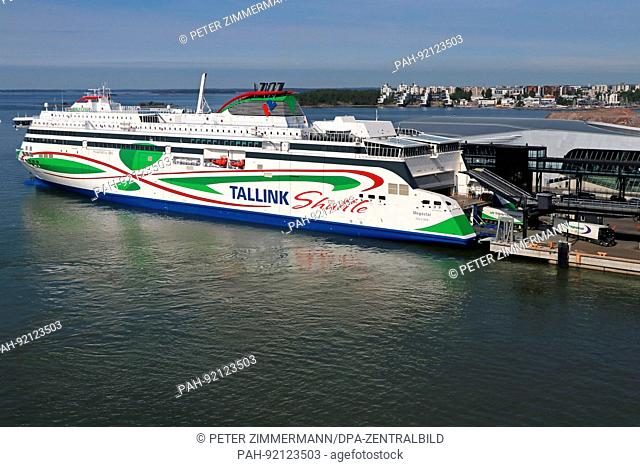 The 'Megastar' ship of the Tallink Shuttle ferry line has shored up in Helsinki harbour. Taken 11.06.2017. There is a regular ferry boat service between Tallinn...