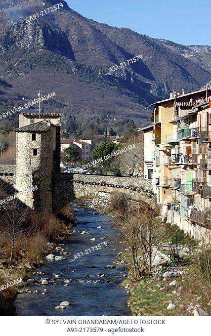 France, Provence, Alpes Maritimes (06), Roya and Bevera valley, city of Sospel, river Bevera and medieval bridge
