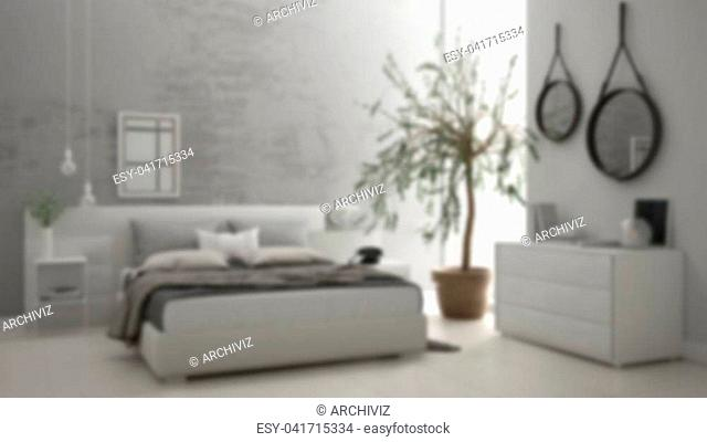 Blur background interior design, minimalistic modern bedroom with window, chest of drawer and big olive tree, concrete wall