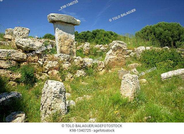 Taula of Sa Torreta Torre Blanca Albufera Natural Parc des Grau Menorca Biosphere Reserve Balearic Islands Spain
