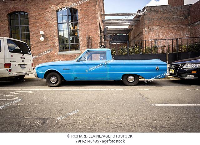 A vintage Ford Ranchero pick-up truck parked in the Williamsburg neighborhood of Brooklyn in New York
