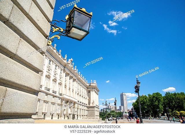 Royal Palace. Bailen street, Madrid, Spain