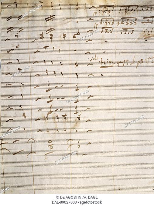 Handwritten score for the opera Beatrice di Tenda, by Vincenzo Bellini (1801-1835).  Catania, Museo Civico Belliniano (Birthplace Of Vincenzo Bellini)