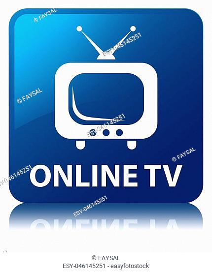 Online tv blue square button