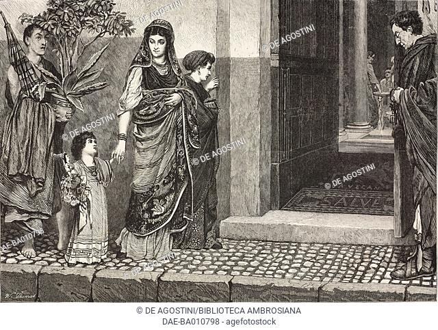 A Roman woman returning from making purchases, engraving from a painting by Lawrence Alma-Tadema (1836-1912), illustration from the magazine The Illustrated...