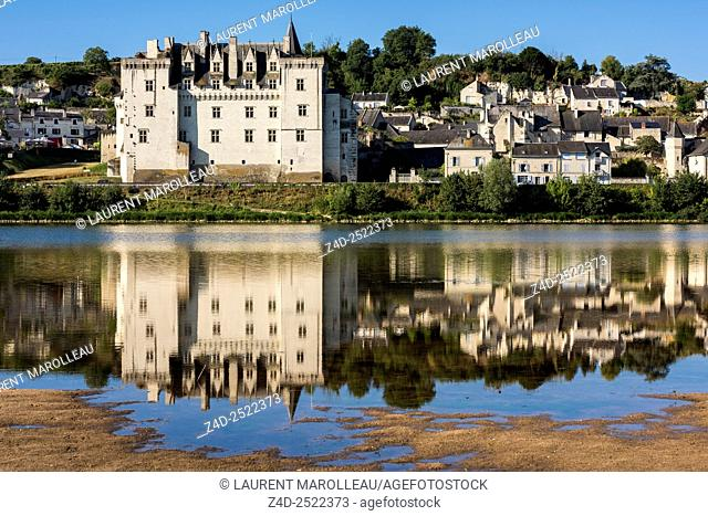 View of Castle of Montsoreau on Riverbank, was built on the Loire in 1455, at the confluence of the Loire and Vienne rivers