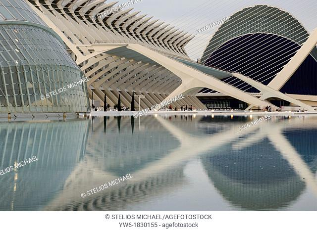 The City of Arts and Science designed by Santiago Calatrava,Valencia,Spain