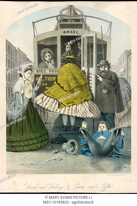 A lady wearing a large crinoline knocks over a man as she attempts to board a London bus. Two ladies in bonnets look on in amazement