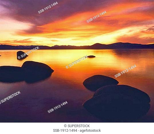 Lake Tahoe Sunset towards Sierra Nevada Lake Tahoe State Park Nevada