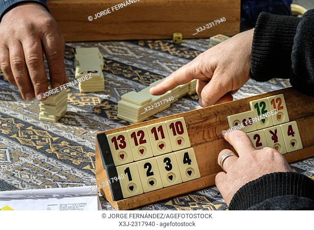 """Group of old men playing a Turkish game called """"""""Okey"""""""". Turkey, Asia"""