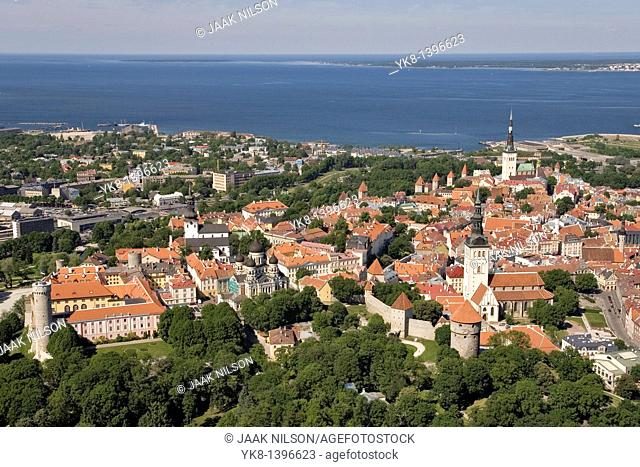 Aerial View of Old Medieval Tallinn by Baltic Sea in Estonia, Europe