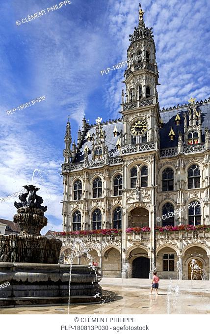 16th century town hall / city hall and belfry of Oudenaarde in Flamboyant Gothic style, East Flanders, Belgium