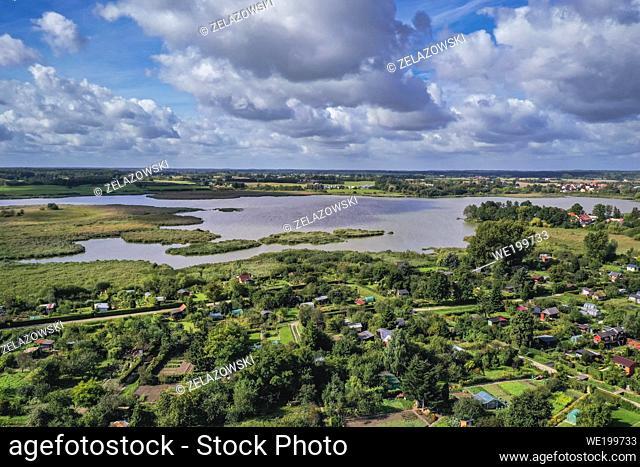 Backwater in Morag town, Ostroda County in the Warmian-Masurian Voivodeship of northern Poland
